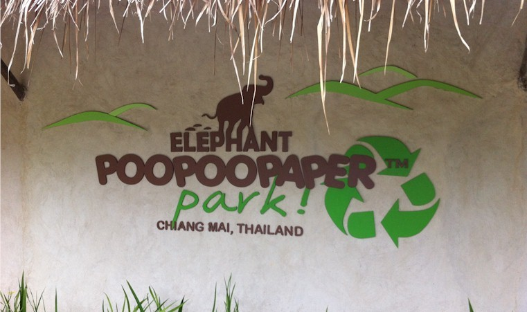 Elephant POOPOOPAPER Park Chiang Mai Thailand Sign